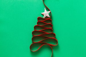 christmas tree made from ribbon on a