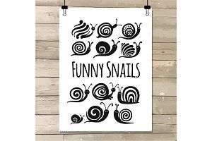 Funny snail, black silhouette for