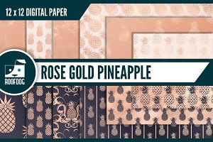Rose gold pineapple digital paper