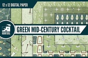 Mid-century cocktails digital paper