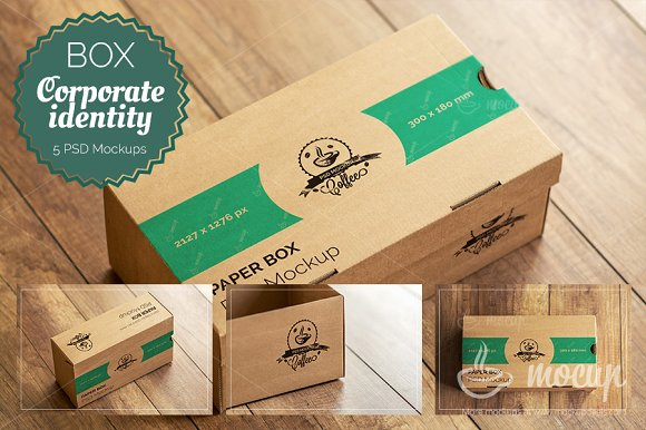 Download 5 PSD Paper Box Mockups