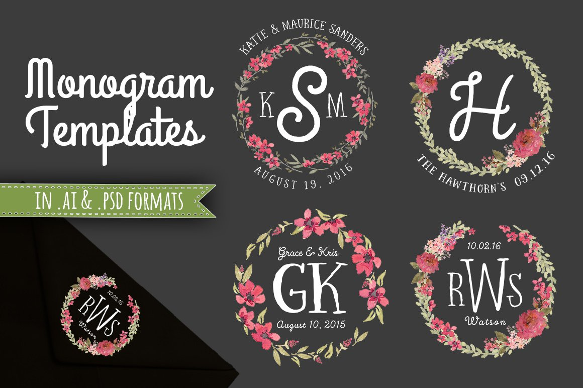 3 Monogram Template Logo Wedding ~ Invitation Templates ~ Creative ...