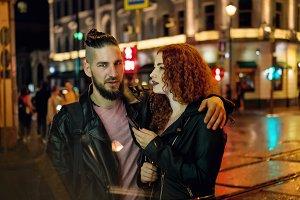 Couple smokes electronic cigarette