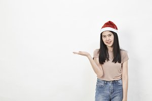 girl in santa hat portrait on white