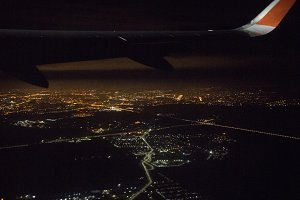 View from a landing airplane out the
