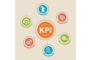KPI. Concept with icons.