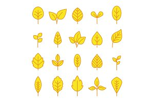 Line leaf icons set