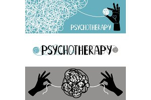 Psychotherapy concept banners set