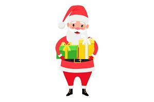 Santa Claus holding gift boxes