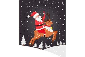 Santa on deer Christmas card