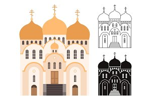 Line, and flat church buildings