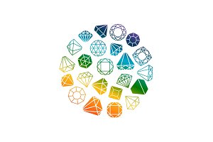 Diamonds icons round banner