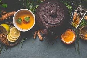Healthy turmeric spice tea