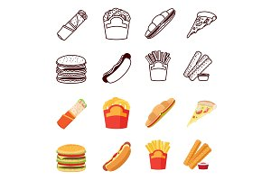 Line and flat fastfood icons set