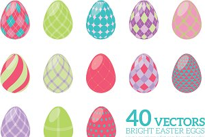 40 Fun Vector Easter Eggs, Vol 1