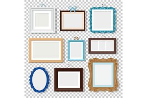 Classic photo frames on transparent