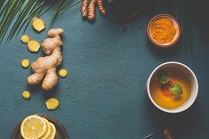 Turmeric spice tea background