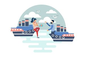 Couple in love on ships vector