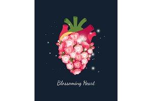 Blooming heart, wedding concept