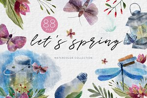 Spring Sings. Watercolor collection