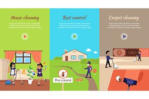 House Cleaning Vector Video Web