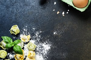 Homemade raw Italian tortellini and