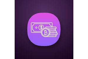 Bitcoin coins stack and dollar icon