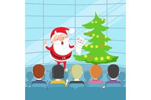 Portrait of Singing Santa Claus in