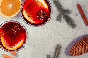 Two glasses with mulled wine