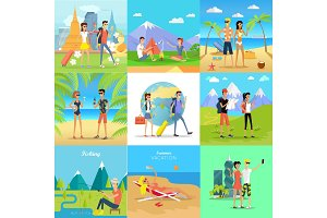 Set of People on Vacation Vector