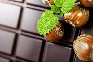 dark chocolate bar with hazelnuts