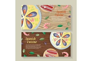 Spanish Cuisine Web Banner. Paella