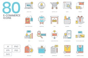 80 E-Commerce Color Line Icons
