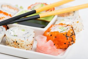 Sushi mix , soy sauce, chopsticks