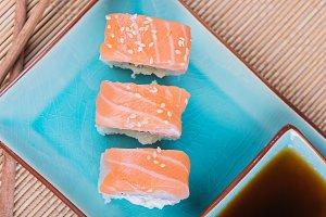 Top view to california maki sushi