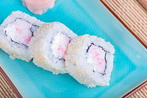 California maki sushi with crab meat