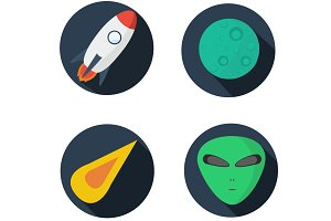 Set icon flat design - space