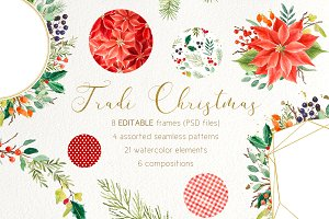Watercolor floral Christmas