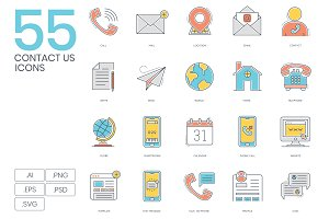 55 Contact Us Color Line Icons