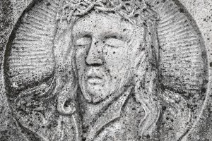 Bas-relief of the face of Christ