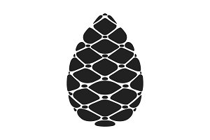 Black silhouette Pinecone vector