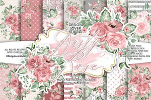 Dusty Rose Garden digital paper pack