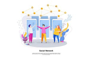 Social network concept. Group of