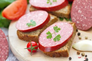 Smoked sausage with spices and