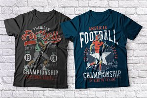 American football t-shirts set