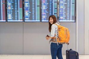Asian woman backpacker or traveler w