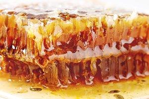 Honey in honeycombs