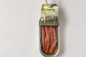 Pickled anchovies in tin can