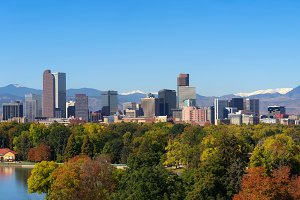 Skyline of Denver downtown with