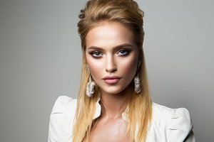 Pretty model with bright make up